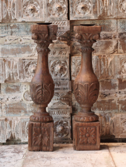 19th Century Pair of Teak Candlesticks from Gujarat (Each)